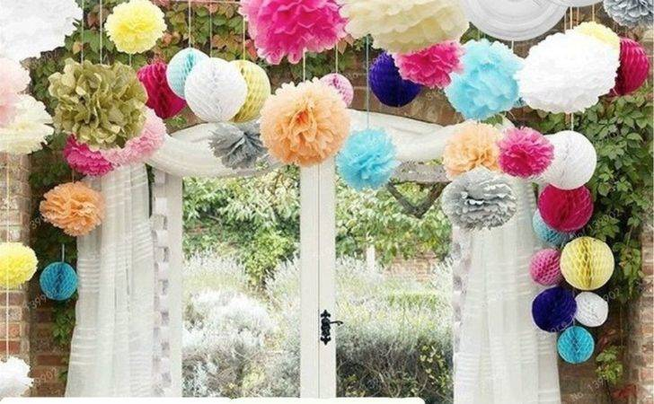Wedding Decorations Tissue Paper Pompoms Sizes Party