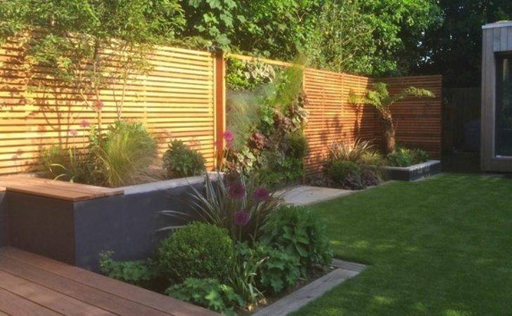 Western Red Cedar Slatted Screen Fences Contemporary