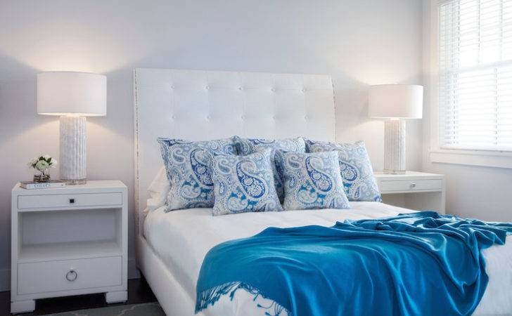 White Blue Bedrooms Transitional Bedroom