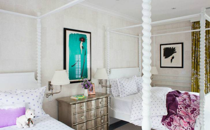 White Canopy Bed Transitional Girl Room Thom Filicia