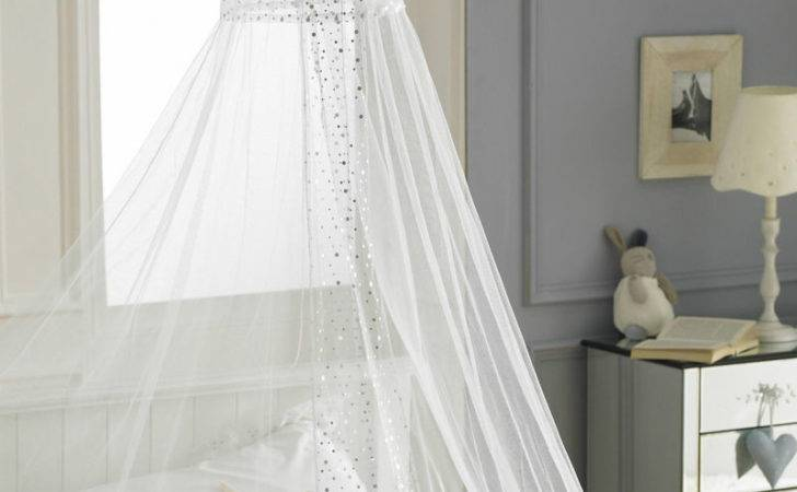 White Canopy Voile Single Bed Girls Netting Sequins