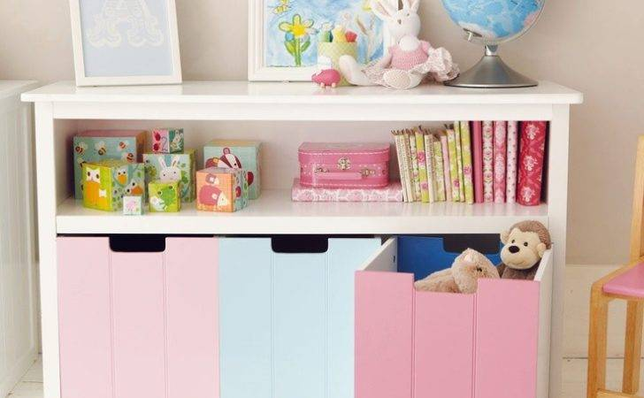 White Easy Reach Toy Storage Unit Blue Pink
