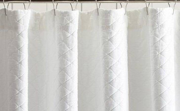 White Fabric Shower Curtain Pottery Barn
