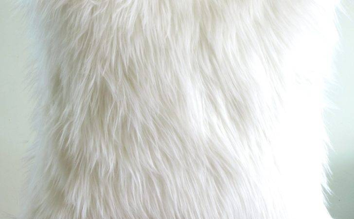 White Fur Pillow Throw Fluffy Suede