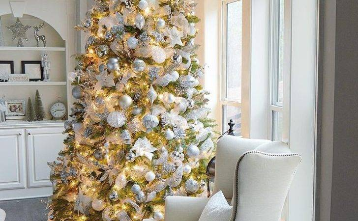 White Gold Christmas Tree Decoration Festival Collections