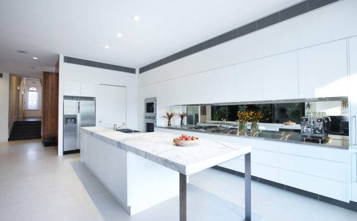 White Kitchen Island Marble Counter Enclave House