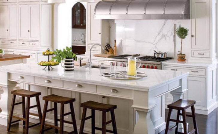 White Kitchen Marble Island Calfinder Hooked Houses
