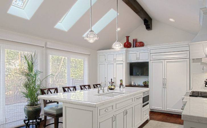 White Kitchen Skylights Traditional