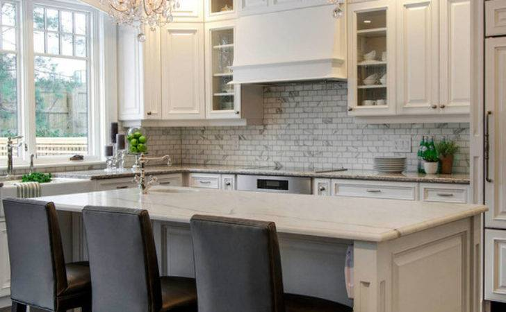 White Marble Topped Kitchen Island Traditional