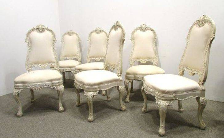 White Painted Baroque Dining Chairs Set Chairish