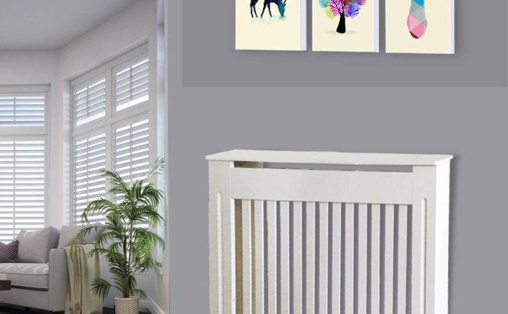 White Painted Mdf Radiator Cover Cabinet Vertical Wood