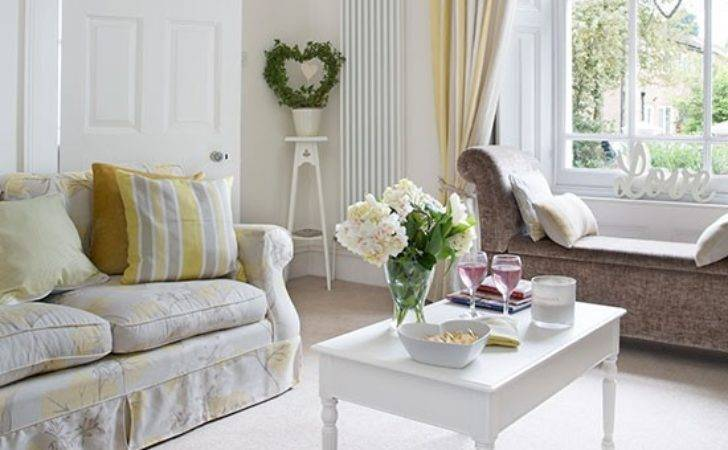White Pale Yellow Living Room Decorating
