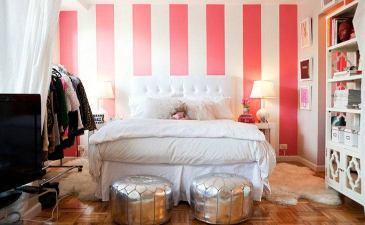 White Pink Striped Wall Contemporary Bedroom