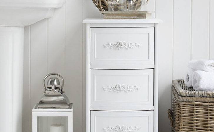 White Rose Bathroom Cabinet Drawers