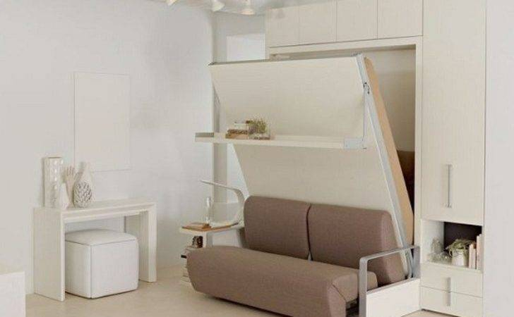 White Sofa Wall Bed Furniture Space Saving Bedroom