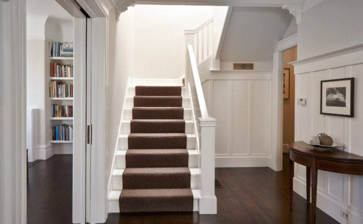 White Staircase Carpet Runner Traditional
