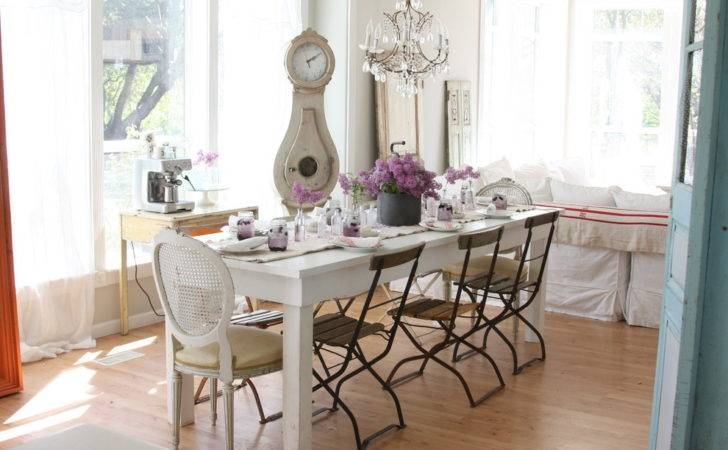 White Table Shabby Chic Style Dining Room