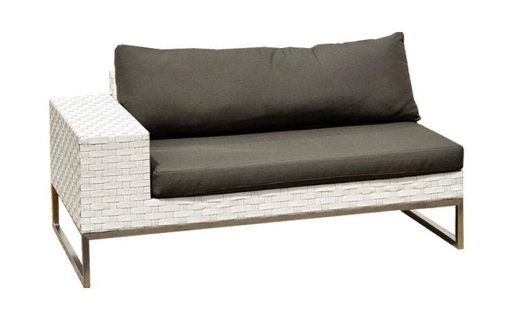White Wicker Seat Sofa Right Arm Outdoor Party Hire