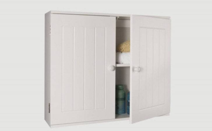White Wooden Bathroom Wall Mounted Cabinet Storage