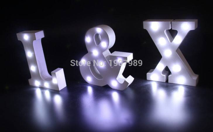 White Wooden Led Lighted Marquee Letters Sign