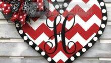 Wood Heart Door Hanger Valentine Gift Monogram