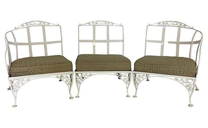 Woodard Wrought Iron Powder Coated Three Seat Sofa Settee