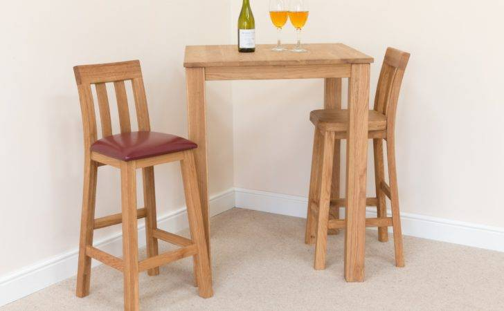 Wooden Breakfast Bar Chairs Leather Seat Small