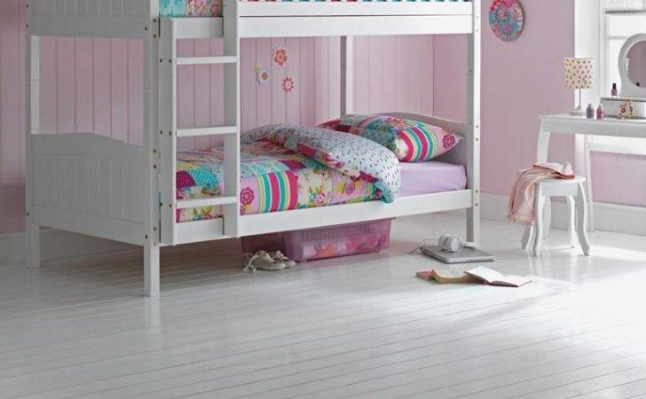 Wooden Bunk Bed Kids Childrens White Single Rosa