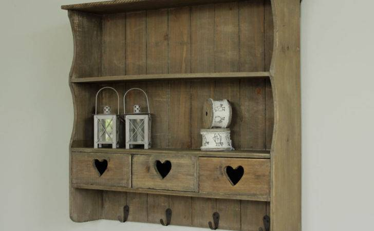Wooden Heart Wall Storage Shelf Drawers Kitchen Shelves