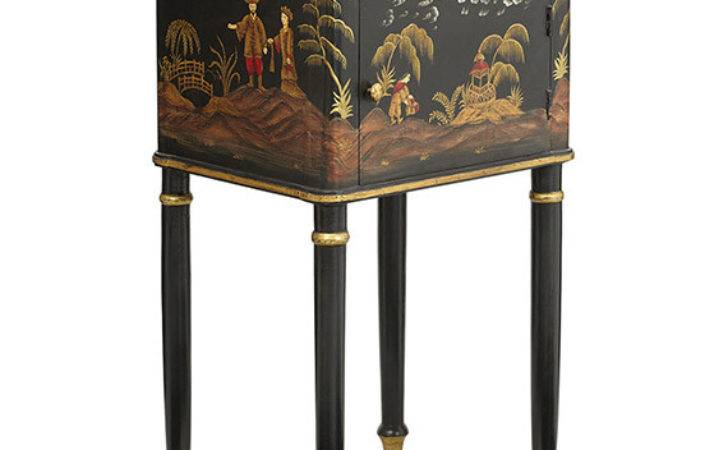 Xin Hand Painted Chinoiserie Bedside Table Oka