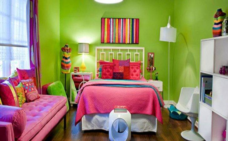 Young Adult Bedroom Design Pink Lime Green Girls