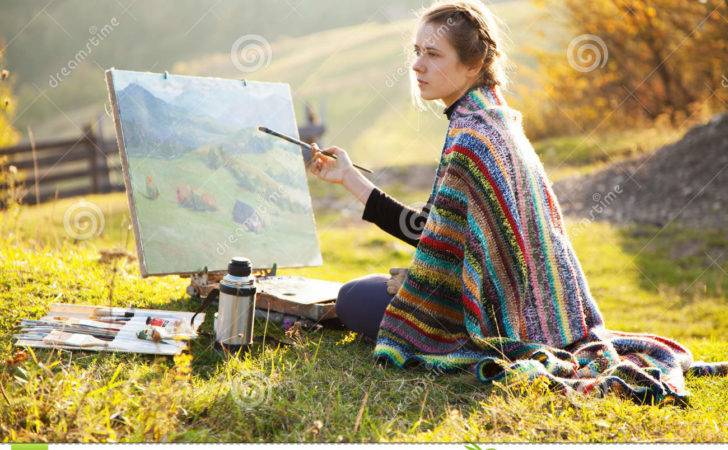 Young Artist Painting Landscape